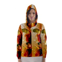 Awesome Colorful, Glowing Leaves  Hooded Wind Breaker (women)