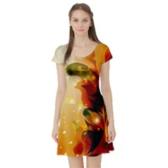 Awesome Colorful, Glowing Leaves  Short Sleeve Skater Dresses