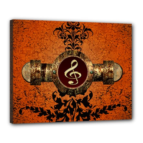 Wonderful Golden Clef On A Button With Floral Elements Canvas 20  x 16