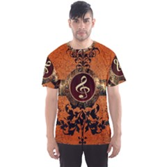 Wonderful Golden Clef On A Button With Floral Elements Men s Sport Mesh Tees