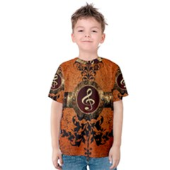 Wonderful Golden Clef On A Button With Floral Elements Kid s Cotton Tee