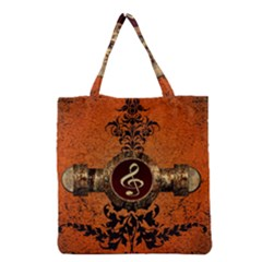 Wonderful Golden Clef On A Button With Floral Elements Grocery Tote Bags