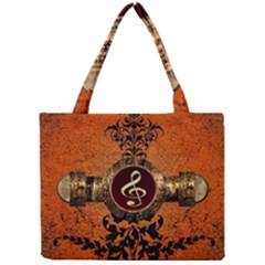 Wonderful Golden Clef On A Button With Floral Elements Tiny Tote Bags