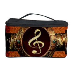 Wonderful Golden Clef On A Button With Floral Elements Cosmetic Storage Cases