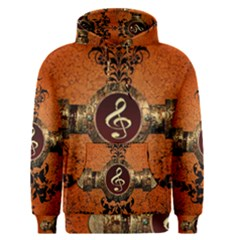 Wonderful Golden Clef On A Button With Floral Elements Men s Pullover Hoodies