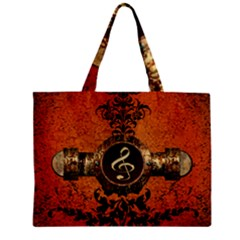 Wonderful Golden Clef On A Button With Floral Elements Zipper Tiny Tote Bags