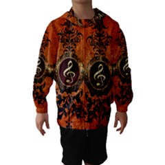 Wonderful Golden Clef On A Button With Floral Elements Hooded Wind Breaker (kids)