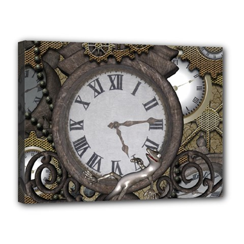 Steampunk, Awesome Clocks With Gears, Can You See The Cute Gescko Canvas 16  x 12