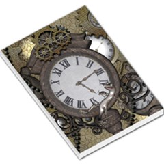 Steampunk, Awesome Clocks With Gears, Can You See The Cute Gescko Large Memo Pads