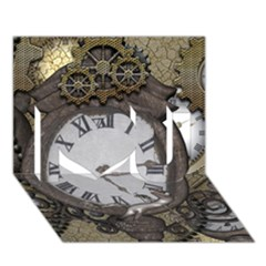 Steampunk, Awesome Clocks With Gears, Can You See The Cute Gescko I Love You 3D Greeting Card (7x5)