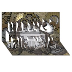 Steampunk, Awesome Clocks With Gears, Can You See The Cute Gescko Happy Birthday 3d Greeting Card (8x4)