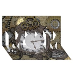 Steampunk, Awesome Clocks With Gears, Can You See The Cute Gescko MOM 3D Greeting Card (8x4)