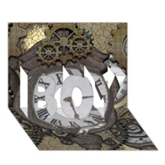 Steampunk, Awesome Clocks With Gears, Can You See The Cute Gescko BOY 3D Greeting Card (7x5)