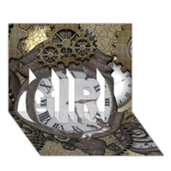Steampunk, Awesome Clocks With Gears, Can You See The Cute Gescko Girl 3d Greeting Card (7x5)