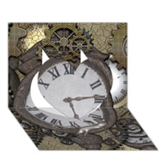 Steampunk, Awesome Clocks With Gears, Can You See The Cute Gescko Heart 3D Greeting Card (7x5)
