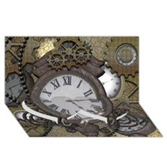 Steampunk, Awesome Clocks With Gears, Can You See The Cute Gescko Twin Heart Bottom 3D Greeting Card (8x4)