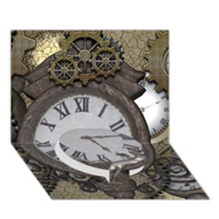 Steampunk, Awesome Clocks With Gears, Can You See The Cute Gescko Circle Bottom 3d Greeting Card (7x5)