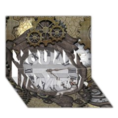 Steampunk, Awesome Clocks With Gears, Can You See The Cute Gescko YOU ARE INVITED 3D Greeting Card (7x5)