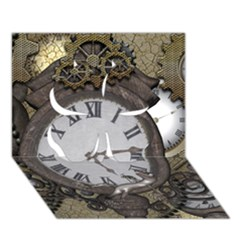 Steampunk, Awesome Clocks With Gears, Can You See The Cute Gescko Clover 3D Greeting Card (7x5)