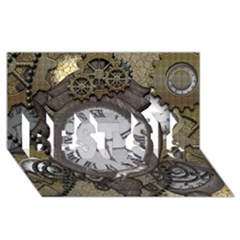 Steampunk, Awesome Clocks With Gears, Can You See The Cute Gescko BEST SIS 3D Greeting Card (8x4)