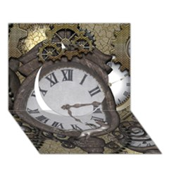 Steampunk, Awesome Clocks With Gears, Can You See The Cute Gescko Circle 3D Greeting Card (7x5)