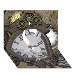 Steampunk, Awesome Clocks With Gears, Can You See The Cute Gescko Ribbon 3d Greeting Card (7x5)