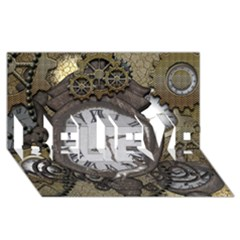 Steampunk, Awesome Clocks With Gears, Can You See The Cute Gescko BELIEVE 3D Greeting Card (8x4)