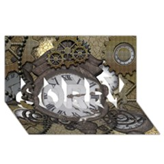 Steampunk, Awesome Clocks With Gears, Can You See The Cute Gescko Sorry 3d Greeting Card (8x4)