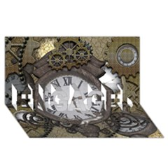 Steampunk, Awesome Clocks With Gears, Can You See The Cute Gescko Engaged 3d Greeting Card (8x4)