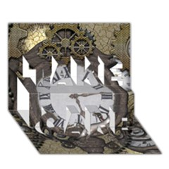 Steampunk, Awesome Clocks With Gears, Can You See The Cute Gescko Take Care 3d Greeting Card (7x5)