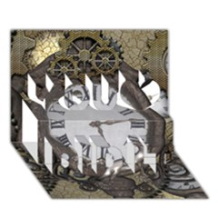 Steampunk, Awesome Clocks With Gears, Can You See The Cute Gescko You Did It 3d Greeting Card (7x5)