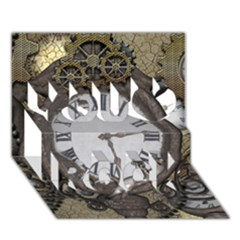 Steampunk, Awesome Clocks With Gears, Can You See The Cute Gescko You Rock 3D Greeting Card (7x5)