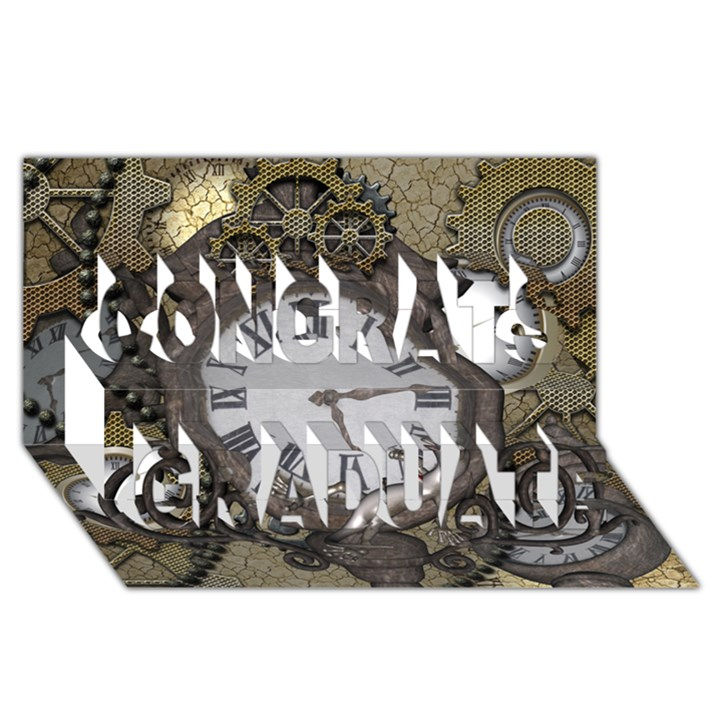 Steampunk, Awesome Clocks With Gears, Can You See The Cute Gescko Congrats Graduate 3D Greeting Card (8x4)