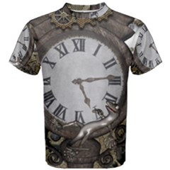 Steampunk, Awesome Clocks With Gears, Can You See The Cute Gescko Men s Cotton Tees
