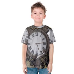 Steampunk, Awesome Clocks With Gears, Can You See The Cute Gescko Kid s Cotton Tee