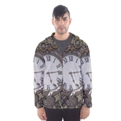 Steampunk, Awesome Clocks With Gears, Can You See The Cute Gescko Hooded Wind Breaker (men)