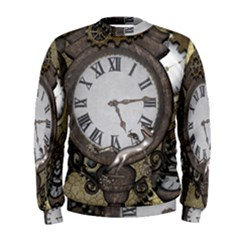 Steampunk, Awesome Clocks With Gears, Can You See The Cute Gescko Men s Sweatshirts