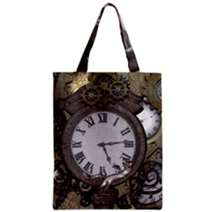 Steampunk, Awesome Clocks With Gears, Can You See The Cute Gescko Zipper Classic Tote Bags