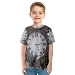 Steampunk, Awesome Clocks With Gears, Can You See The Cute Gescko Kid s Sport Mesh Tees