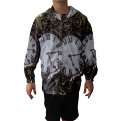 Steampunk, Awesome Clocks With Gears, Can You See The Cute Gescko Hooded Wind Breaker (Kids)
