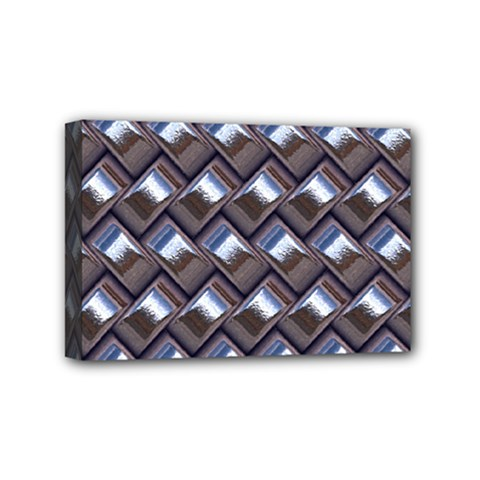 Metal Weave Blue Mini Canvas 6  X 4