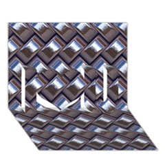 Metal Weave Blue I Love You 3d Greeting Card (7x5)