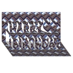 Metal Weave Blue Happy Birthday 3D Greeting Card (8x4)
