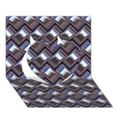 Metal Weave Blue Heart 3D Greeting Card (7x5)