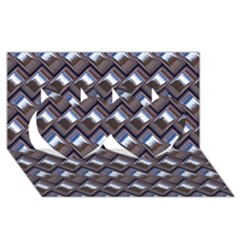 Metal Weave Blue Twin Hearts 3D Greeting Card (8x4)