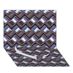 Metal Weave Blue Heart Bottom 3d Greeting Card (7x5)