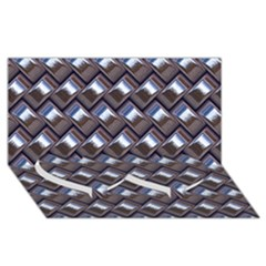 Metal Weave Blue Twin Heart Bottom 3d Greeting Card (8x4)