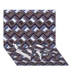 Metal Weave Blue Love Bottom 3d Greeting Card (7x5)