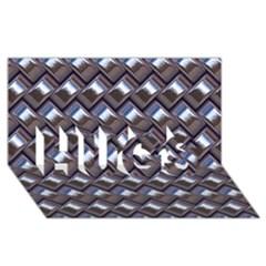 Metal Weave Blue HUGS 3D Greeting Card (8x4)