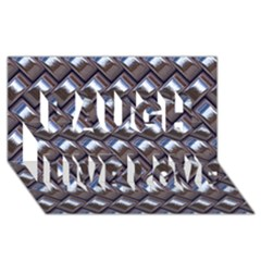 Metal Weave Blue Laugh Live Love 3D Greeting Card (8x4)